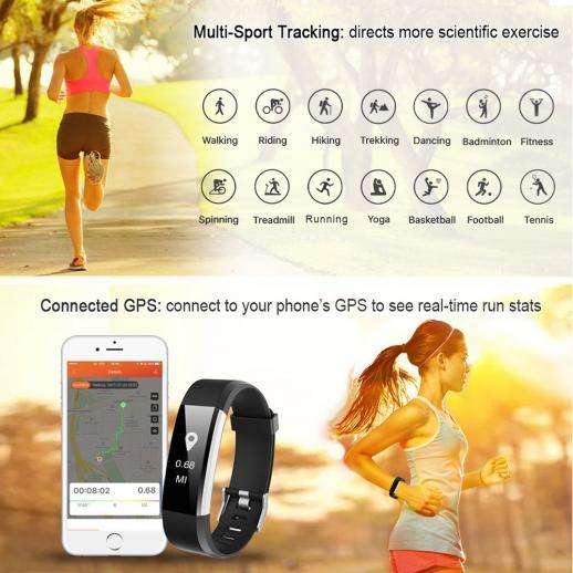 ID115HR PLUS Inteligente Pulseira Sports Pulseira de Fitness Rastreador Monitor de Freqüência Cardíaca - Preto