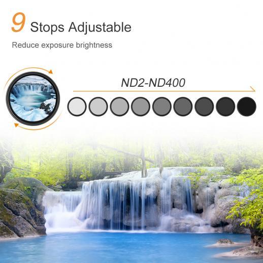 Filtro ND variável do ND da densidade neutra de 67mm ND2 a ND400